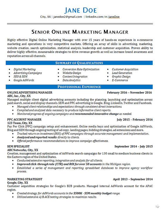 online marketing resume example seo advertising