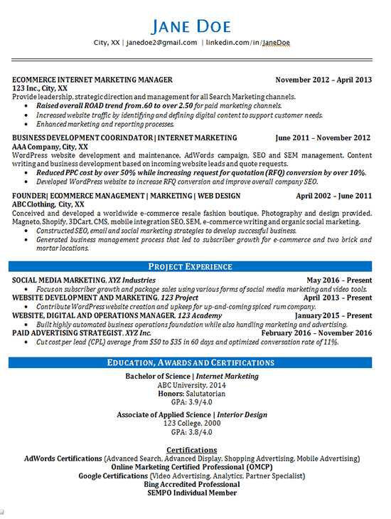 resume examples internet marketing