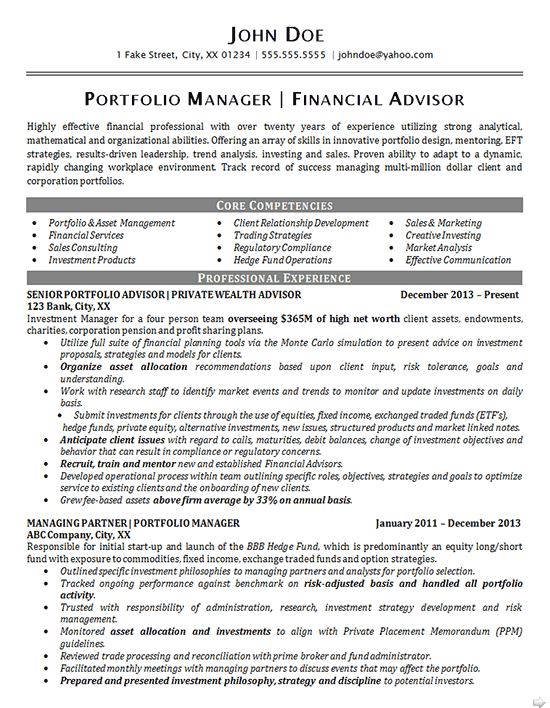 Portfolio Manager Resume Example