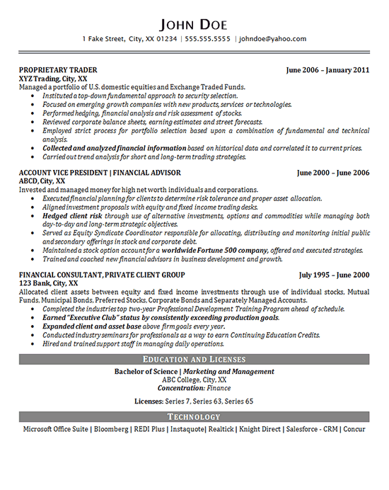 Portfolio Manager Financial Resume
