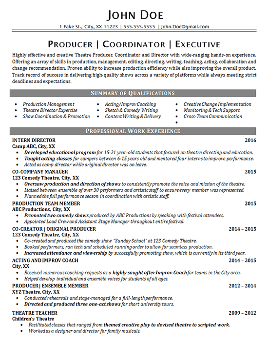 Theater Resume Example - Entertainment - Production - Fine Arts