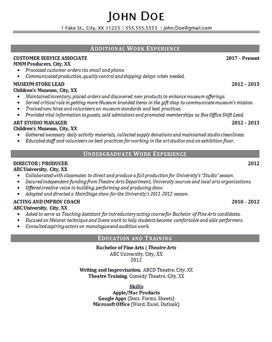 Theater Resume Example Entertainment Production Fine