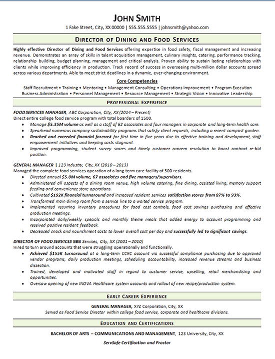 View Food Services Resume Example - Dining Manager