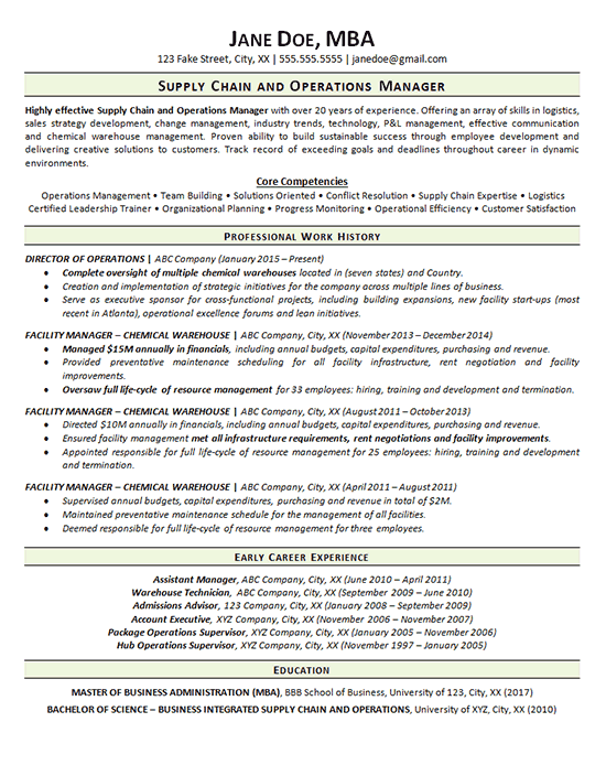Supply Chain Resume Example - Operations Manager