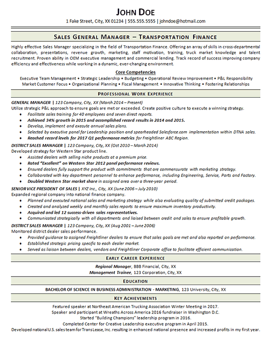 transportation resume example - general manager