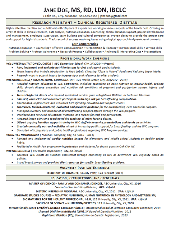 clinical dietitian resume example nutritionist