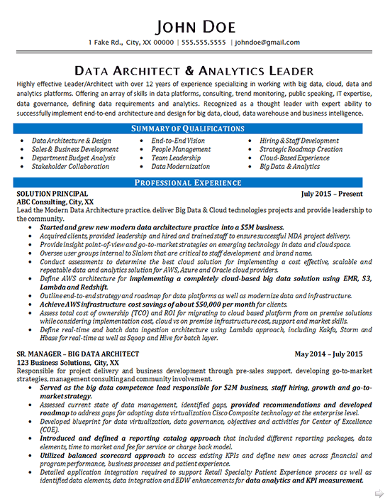 data architect resume example