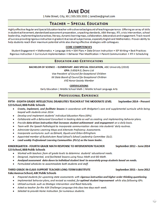 special education teacher resume example - Special Education Teacher Resume
