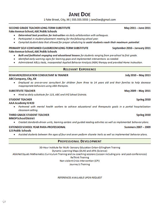 special education teacher resume - math