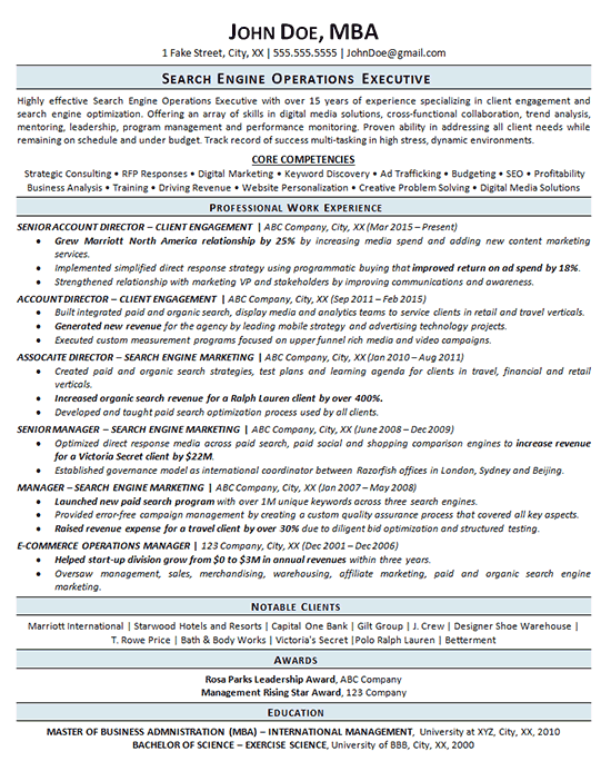search engine optimization resume example seo operations