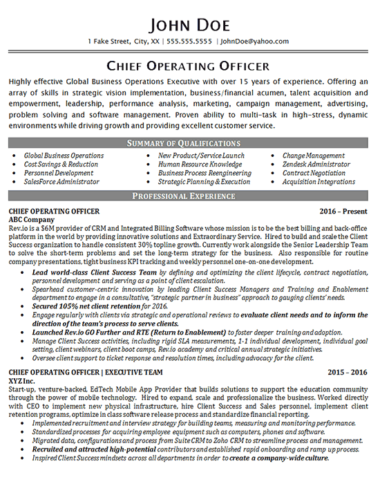 chief operating officer resume example