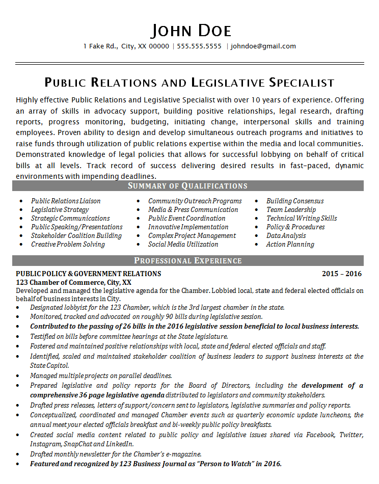 Public Relations Resume Example Political Legislative Specialist