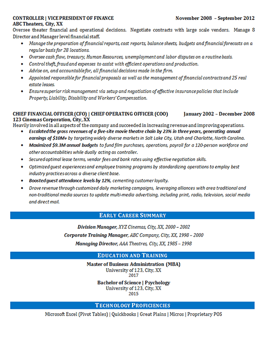 Effective Executive Summary Resume