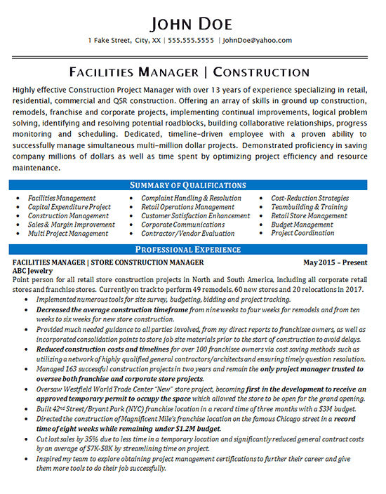 Facilities Manager Resume Example - Construction Projects