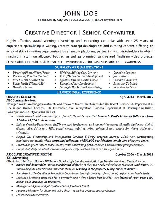 Creative Director Resume Example - Copywriter - Marketing