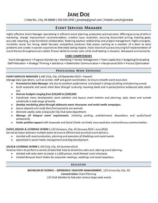 event manager resume example