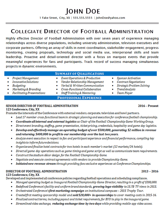 Athletic Director Resume Example - Football - Sports Management