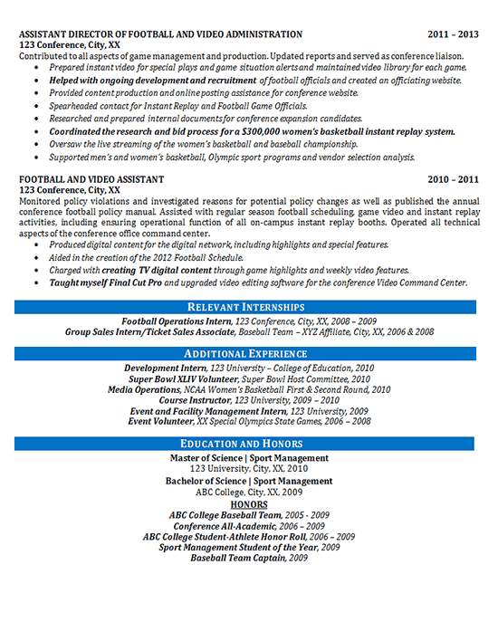 Athletic Director Resume Example Football Sports Management