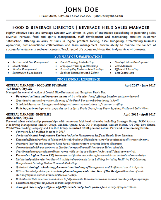 Food and Beverage Manager Resume Example