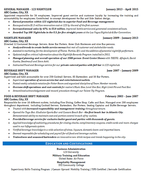 Food Beverage Manager Resume Example - Restaurant & Bar - Sales