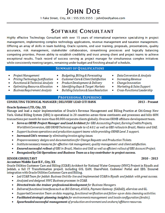 Software Consultant Resume Example Oracle Systems