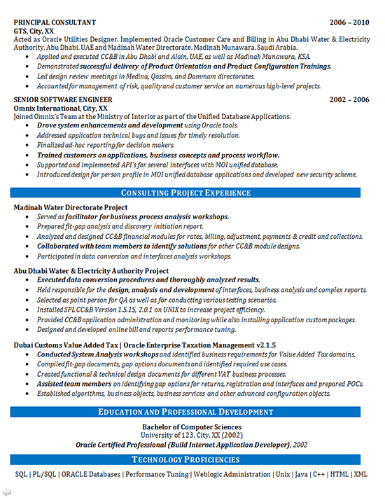Consulting Resume Examples | Software Consultant Resume Example Oracle Systems Financial