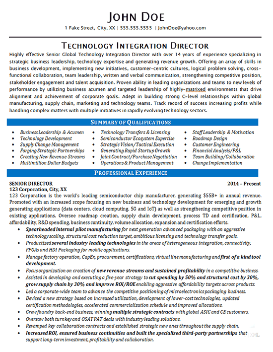 Technology Director Resume Example - IT Integration