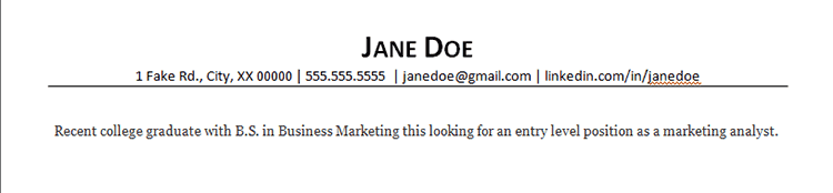 resume objective example for marketing