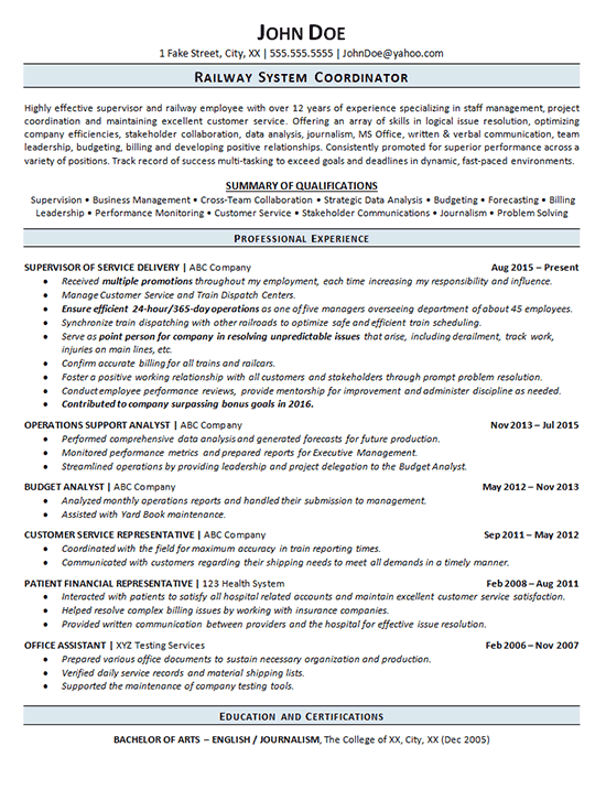 Railroad Resume Example - Railway Operations Service Supervisor