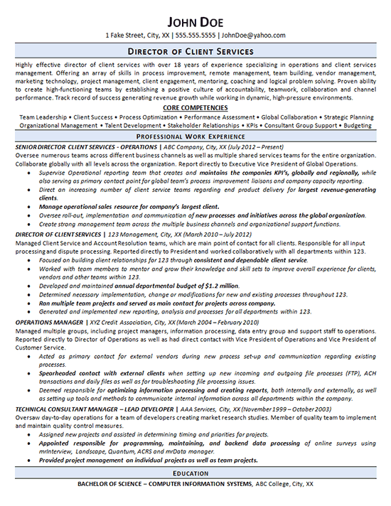 Director Of Customer Service Resume | Summary For Resume ...