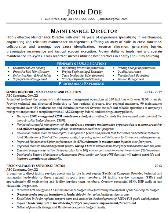 Maintenance Resume Example - Maintenance Director Manager