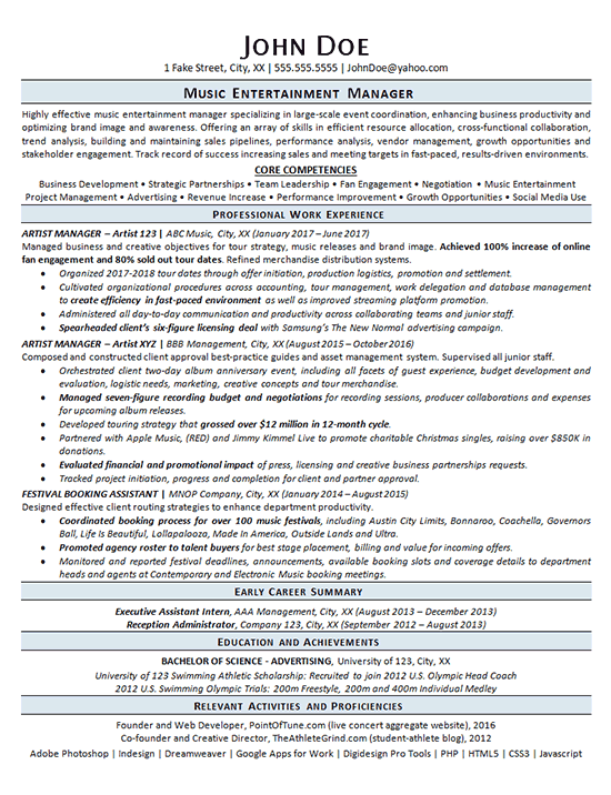 Entertainment Manager Resume Example - Music Artist Management