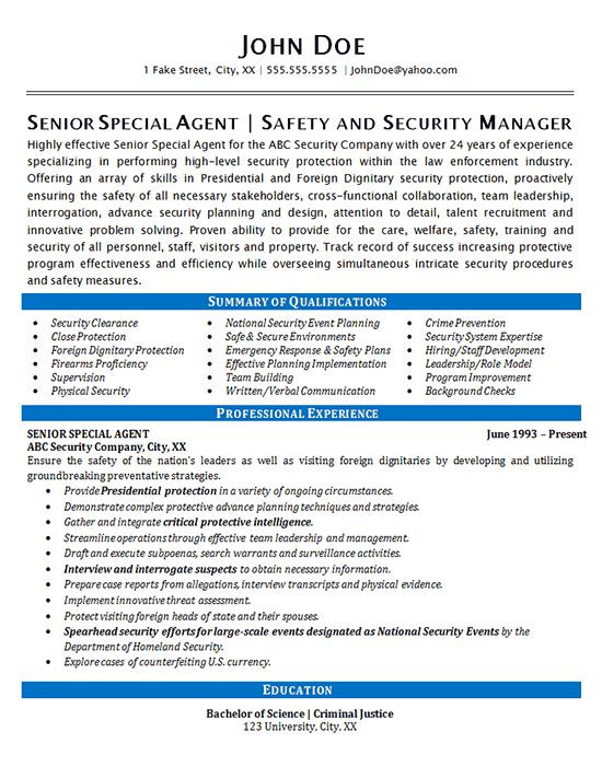 security agent resume example special agent