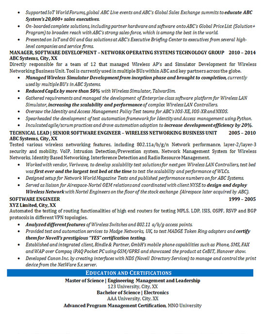 software engineering resume industry